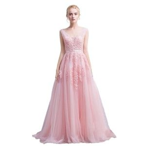 Dresses & Skirts - Tulle Appliqué Long Prom Bridesmaid Dress Pink